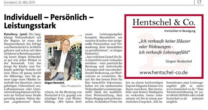 Markt am Samstag: Hentschel & Co. ist Ihr Immobilienpartner in Ratzeburg / Mölln und…